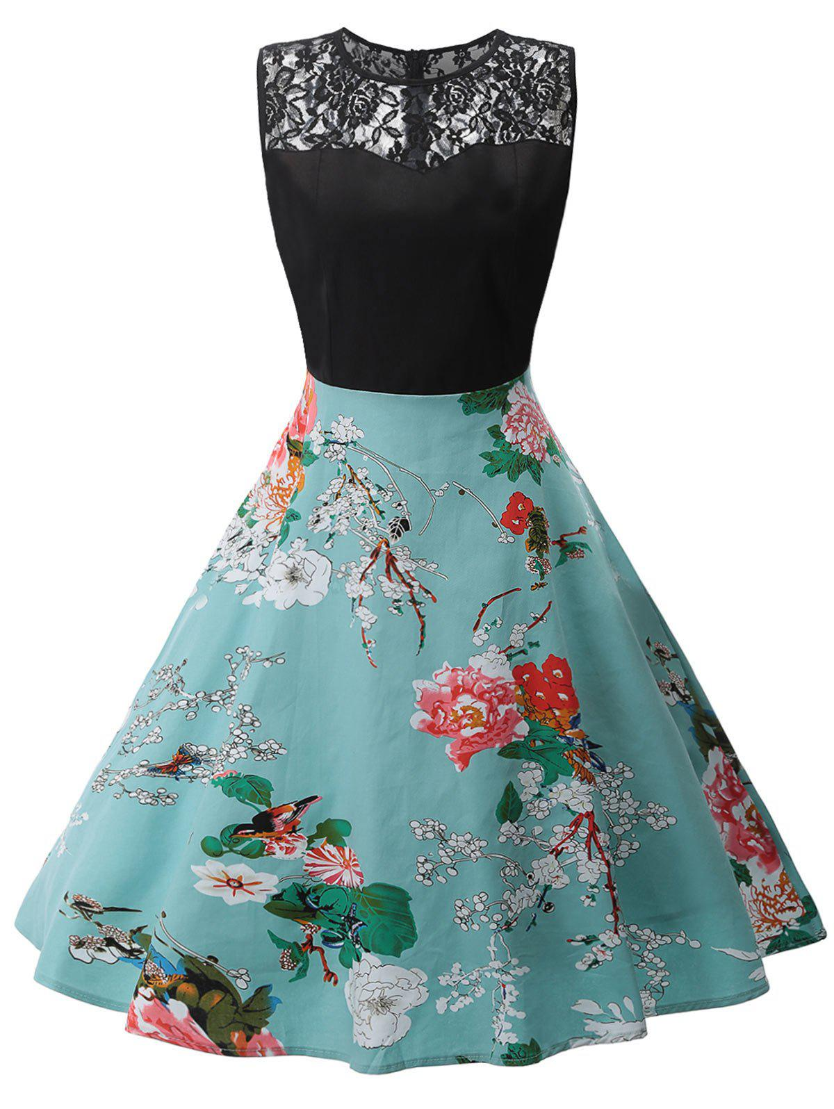 Outfit Vintage Lace Panel Printed Swing Dress