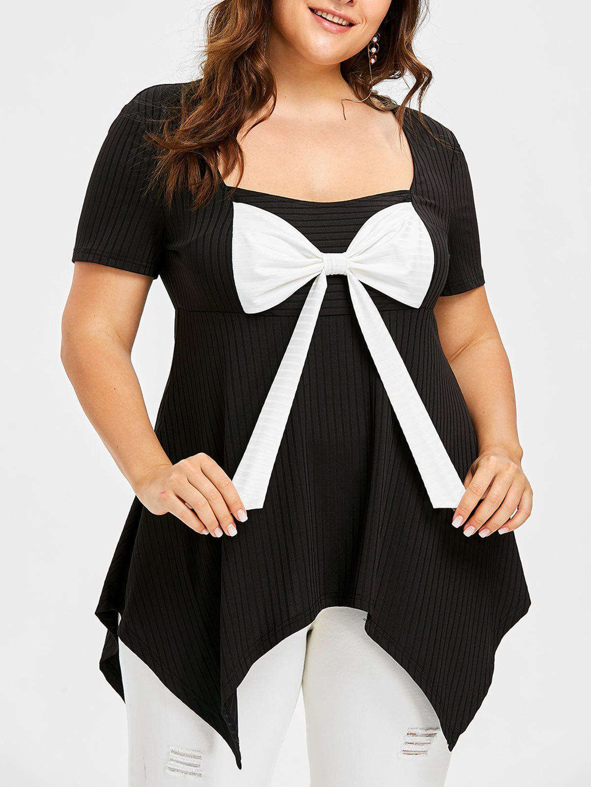 Outfits Plus Size Square Neck Bow Bust T-shirt