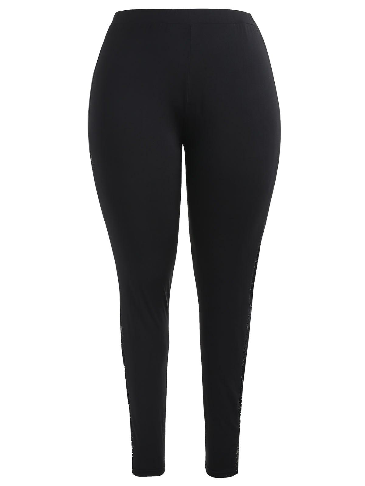 Cheap Lace Panel Plus Size Fitted Leggings
