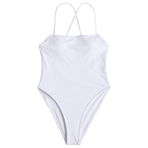 One Piece Cross Back High Cut Swimwear -