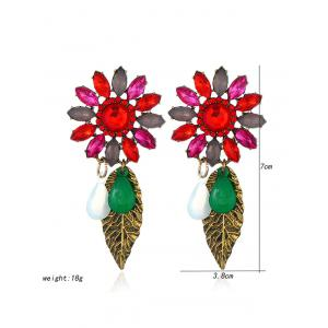 Faux Crystal Flower Leaf Teardrop Earrings -
