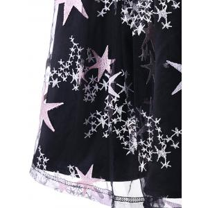 Vintage Stars Print Mesh Insert Swing Dress -