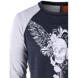 Skull Wings Print Long Sleeve T-shirt -