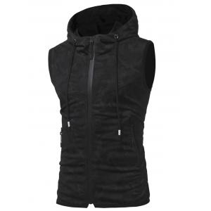 Pockets Zip Up Camouflage Print Hooded Tank Top -