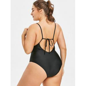 Plus Size Embroidery Tie Back One Piece Swimwear -