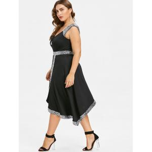 Plus Size Sequined Trim Sparkly Swing Dress -