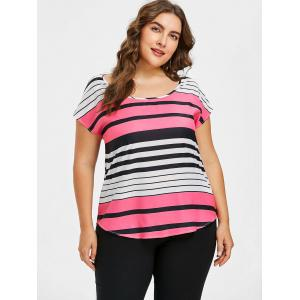 Plus Size Batwing Sleeve Stripe T-shirt -