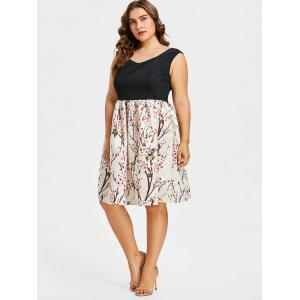 Plus Size Sweetheart Floral Print Dress -