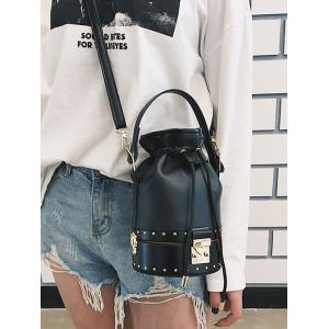 Strawstring Studded Rivet Crossbody Bucket Bag -