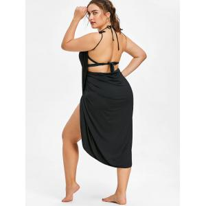 Semi-sheer Plus Size Wrap Cover Up Dress -