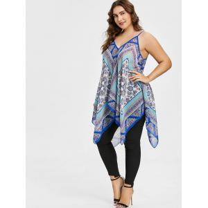 Plus Size Tribal Print Handkerchief Hem Tank Top -