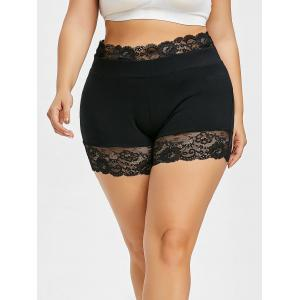 Plus Size Lace Panel Scalloped Short Leggings -