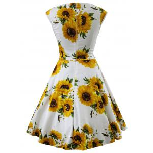 Retro Sunflower Print Ruched Swing Dress -