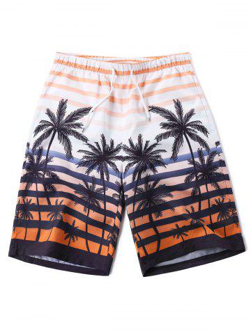 Unique Coconut Tree Printed Beach Bermuda Shorts