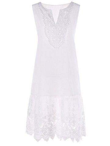 Fashion V Neck Embroidery Flounced Tent Dress