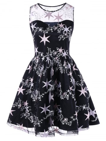 Cheap Vintage Stars Print Mesh Insert Swing Dress