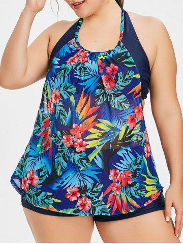 Discount Plus Size Flower Double Up Tankini Set