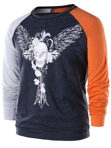 Fashion Skull Wings Print Long Sleeve T-shirt