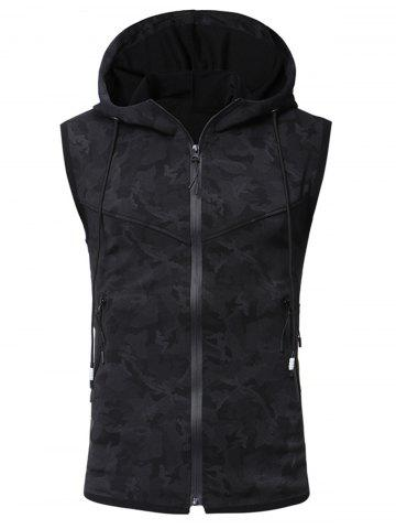 Best Pockets Zip Up Camouflage Print Hooded Tank Top