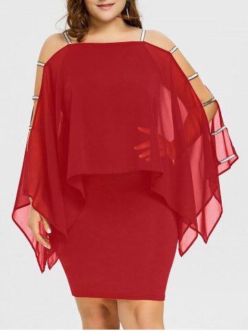 Store Plus Size Ladder Cut Sheer Capelet Dress
