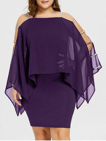 Outfits Plus Size Ladder Cut Sheer Capelet Dress