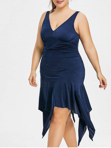 Trendy Plus Size Plunging Neck Handkerchief Dress
