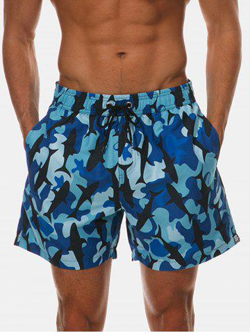 Store Pockets Camo Whale Print Beach Shorts