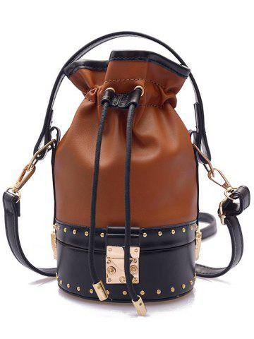 Trendy Strawstring Studded Rivet Crossbody Bucket Bag
