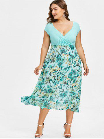 Plus Size V-neck Tropical Holiday Dress 7b48083ae6bc