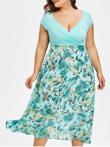 Trendy Plus Size V-neck Tropical Holiday Dress