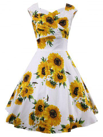 Cheap Retro Sunflower Print Ruched Swing Dress