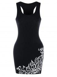 Racerback Printed Mini Bodycon Dress -