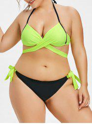 Plus Size Wrap Two Tone Bikini Set -