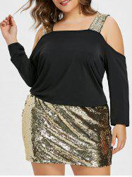 Plus Size Sequin Cold Shoulder Blouson Dress -