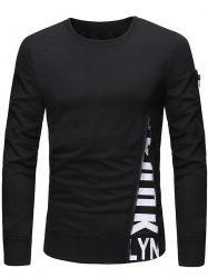 Pullover Letter Print Zipper Long Sleeves Sweatshirt -