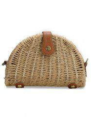 Retro Straw Fan Shaped PU Hasp Beach Bag -