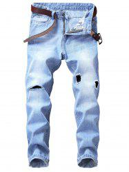 Zip Fly Straight Leg Destroyed Panel Bleached Jeans -