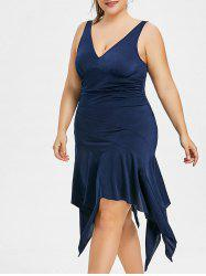 Plus Size Plunging Neck Handkerchief Dress -