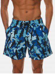 Pockets Camo Whale Print Beach Shorts -