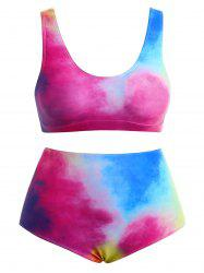 Ombre Plus Size High Waisted Bikini Set -