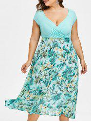 Plus Size V-neck Tropical Holiday Dress -