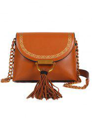 Tassel Hasp Closure Lace Up Design Decor Shoulder Bag -