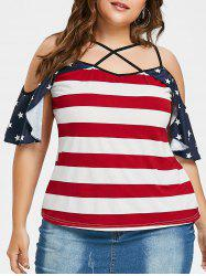 Plus Size American Flag Criss Cross T-shirt -