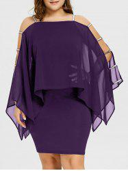 Plus Size Ladder Cut Sheer Capelet Dress -
