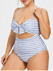 Plus Size Striped Cutout Swimsuit -