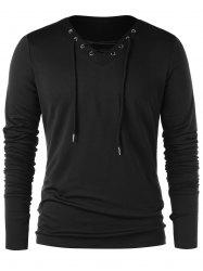 V Neck Long Sleeve with Finger Hole T-shirt -