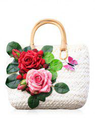 Straw Floral Embellished Handbag for Holiday -