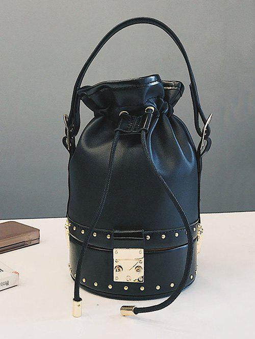 Discount Strawstring Studded Rivet Crossbody Bucket Bag