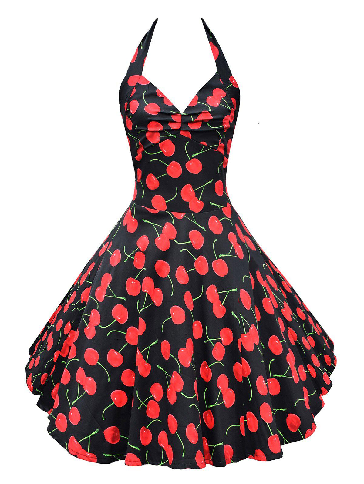 Fancy Vintage Open Back Cherry Print Swing Dress