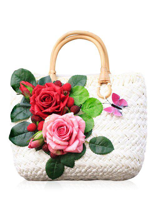 Sale Straw Floral Embellished Handbag for Holiday